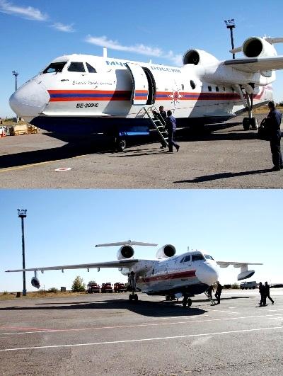 В случае ухудшения ситуации с пожарами в аэропорту Волгограда в готовности к применению находится самолет МЧС России Бе-200
